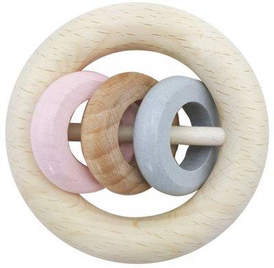 HESS - Rammelaar 3 ringen (naturel-roze)