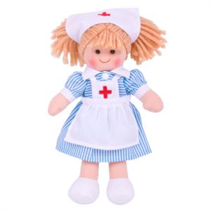 Bigjigs stoffen Pop verpleegster Nancy, maat klein